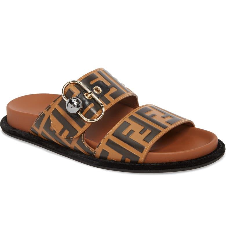 FENDI Pearland Logo Slide Sandal, Main, color, BROWN