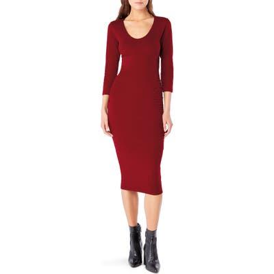 Michael Stars Ruched Midi Dress, Red