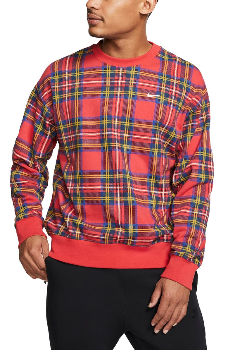 NIKE NRG Plaid Crewneck Sweatshirt, Main, color, UNIVERSITY RED