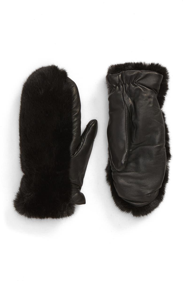 NORDSTROM Faux Fur Tech Mittens, Main, color, BLACK