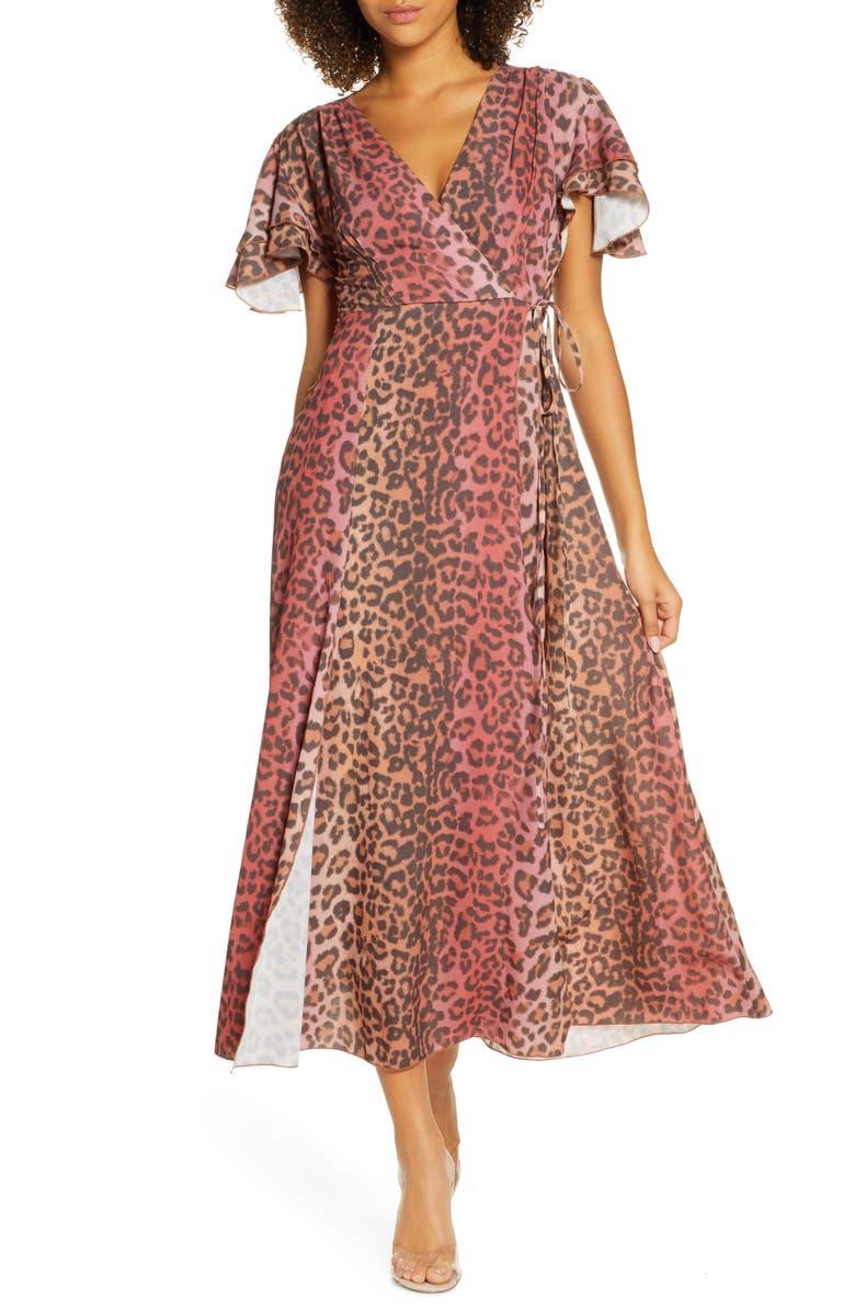 FRENCH CONNECTION Annalia Faux Wrap Maxi Dress, Main, color, CASABLANCA/ RHUBARB