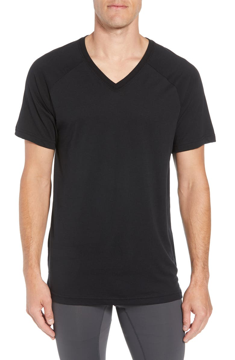 ALO Triumph Raglan V-Neck T-Shirt, Main, color, 001