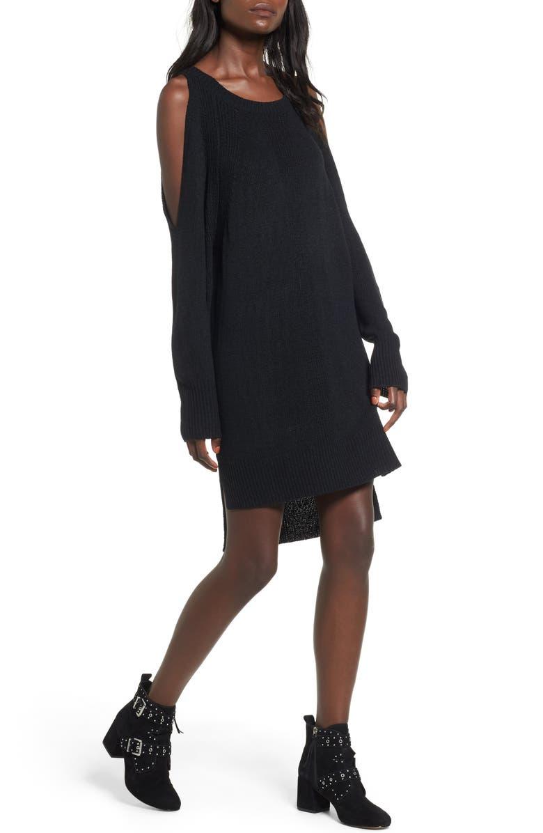 --- Shredded Back Cold Shoulder Dress, Main, color, 001