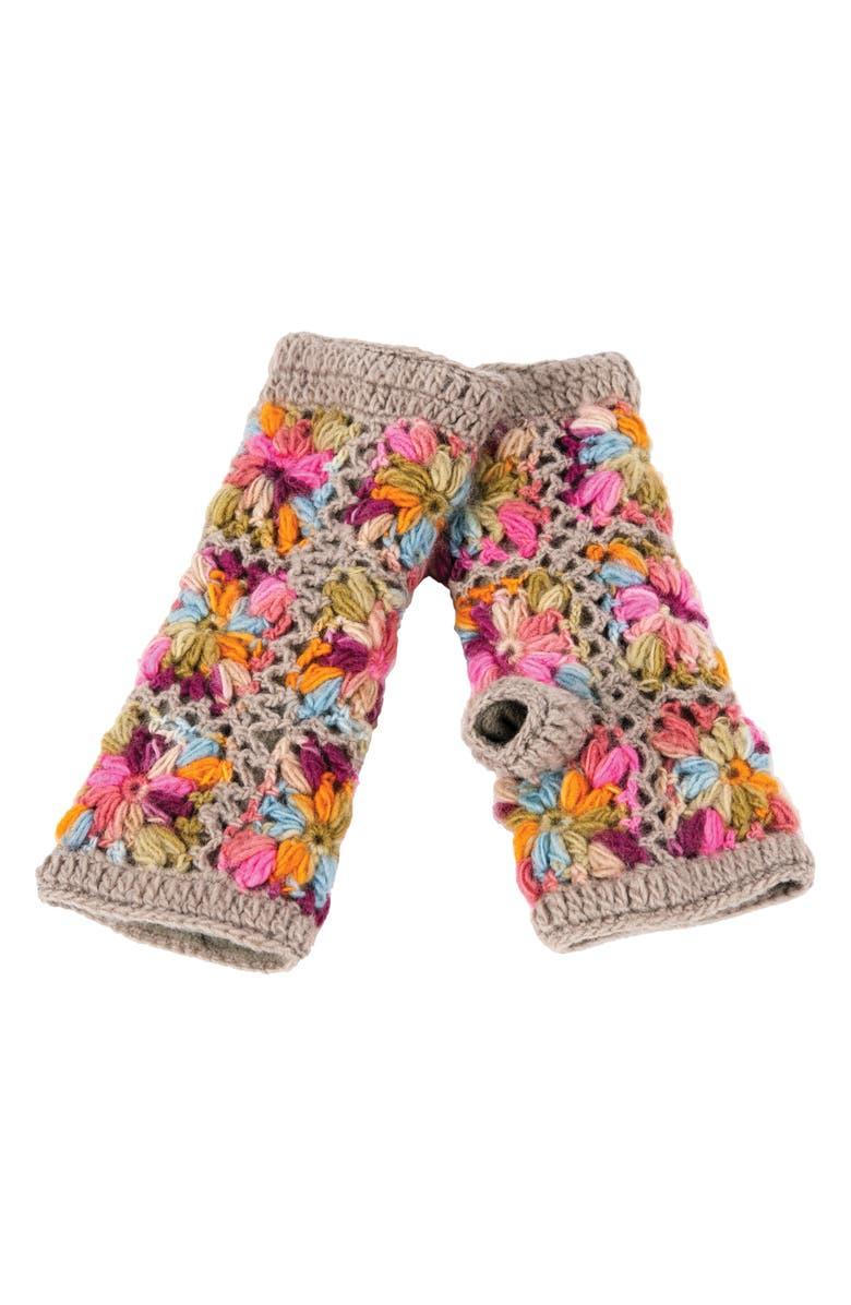 NIRVANNA DESIGNS Flower Crochet Hand Warmers, Main, color, GREY MULTI
