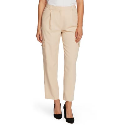 Vince Camuto Cargo Detail Textured Twill Pants, Beige