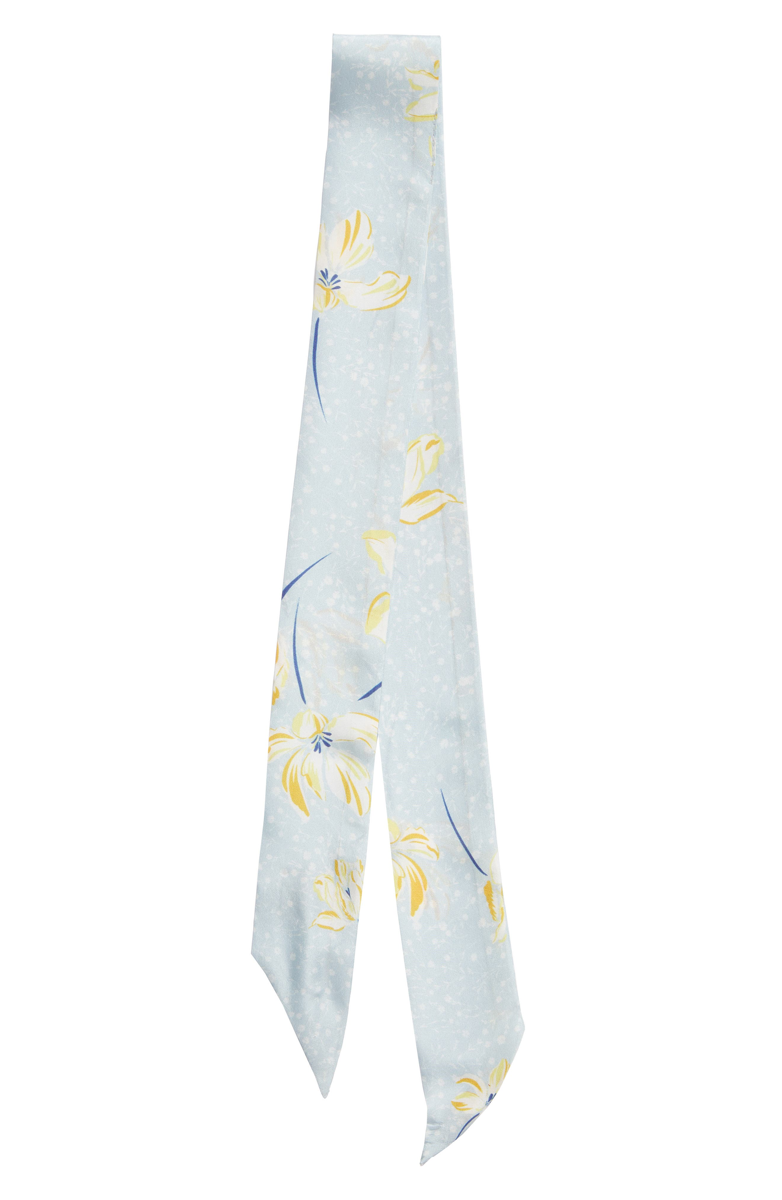 ,                             Silk Skinny Scarf,                             Alternate thumbnail 3, color,                             BLUE SPRING FLORAL