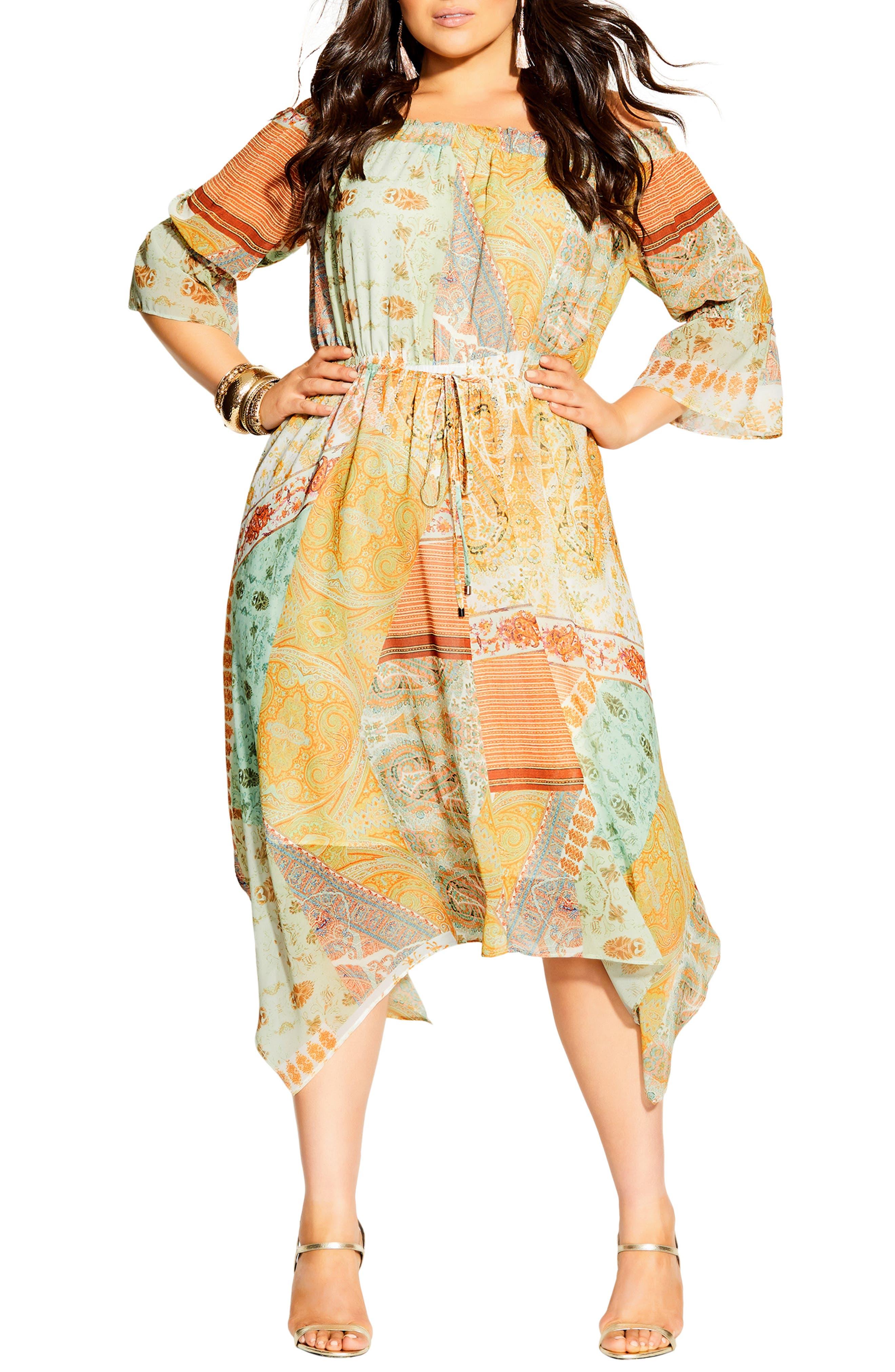Togo Off The Shoulder Long Sleeve Midi Dress