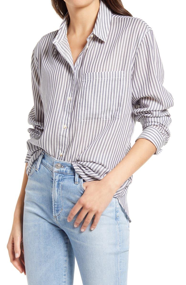 TREASURE & BOND Women's Lightweight Patterned Shirt, Main, color, WHITE- GREY TATLER STRIPE
