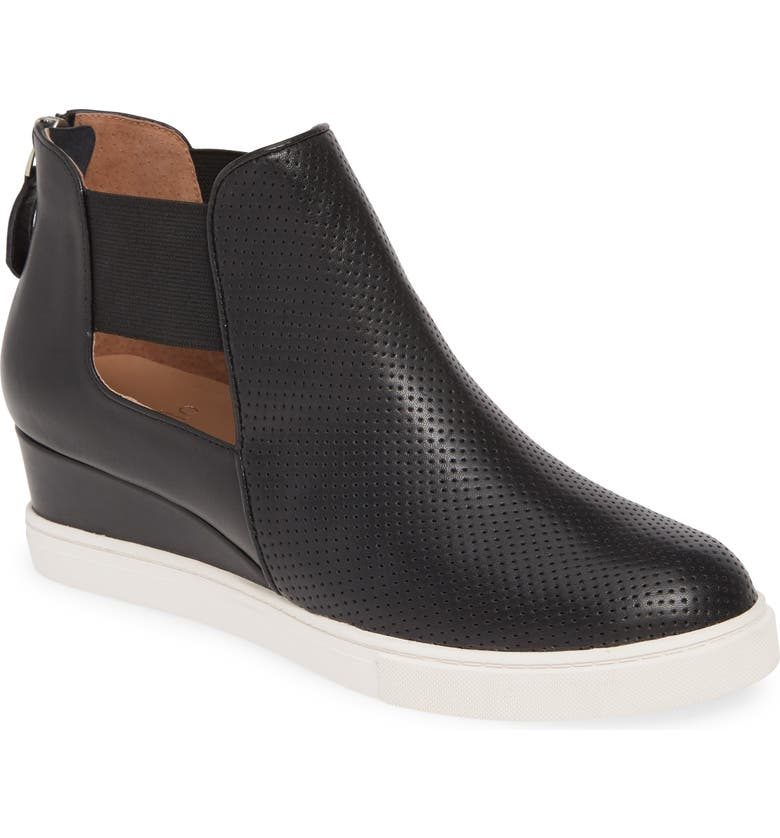 LINEA PAOLO Amanda Slip-On Wedge Bootie, Main, color, BLACK NAPPA LEATHER