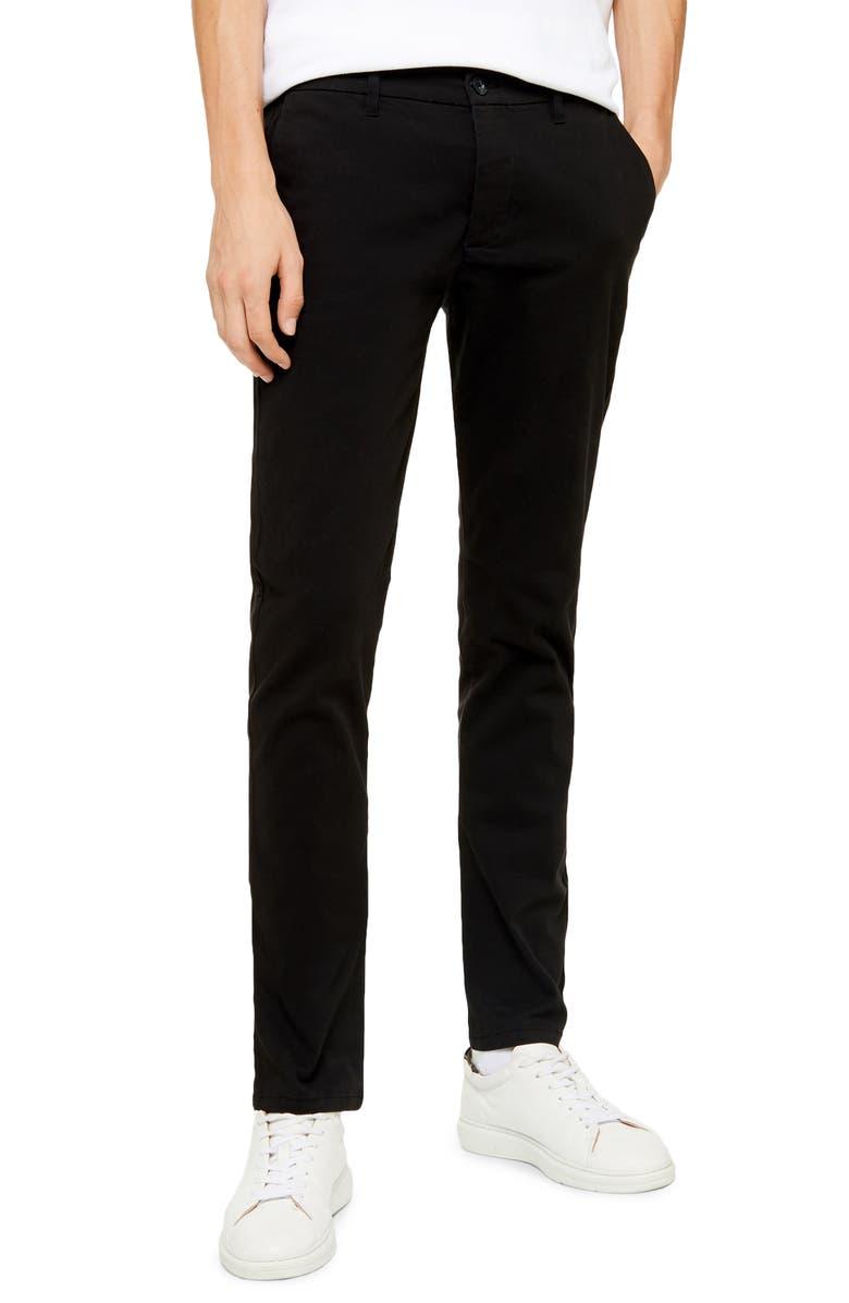TOPMAN Essential Slim Chino Pants, Main, color, 001