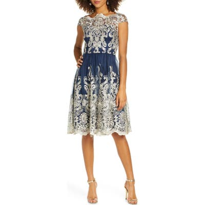 Chi Chi London Yazzy Embroidered Mesh A-Line Dress, Blue