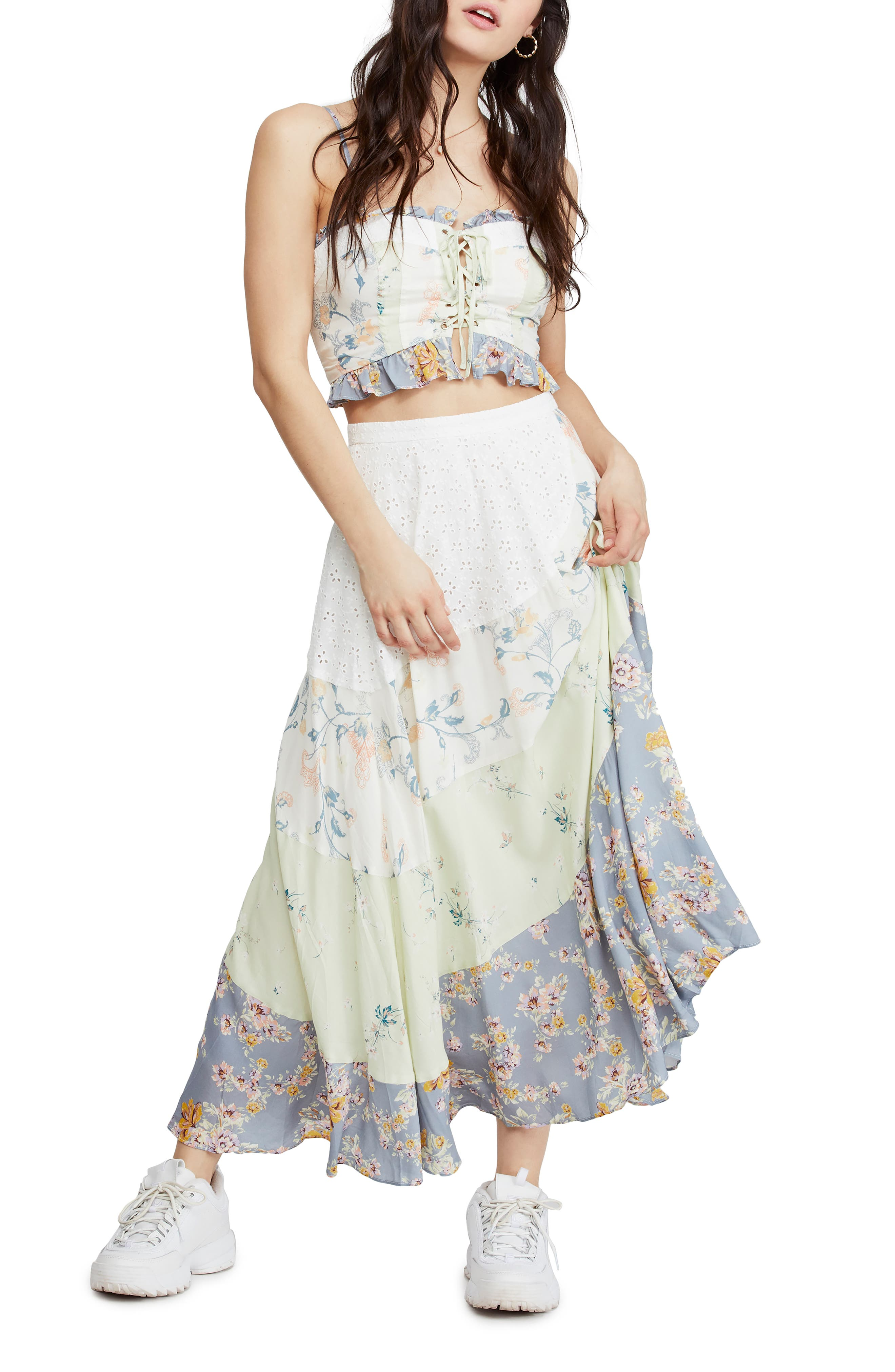 Free People In The Flowers Two-Piece Lace-Up Bodice Dress, Blue