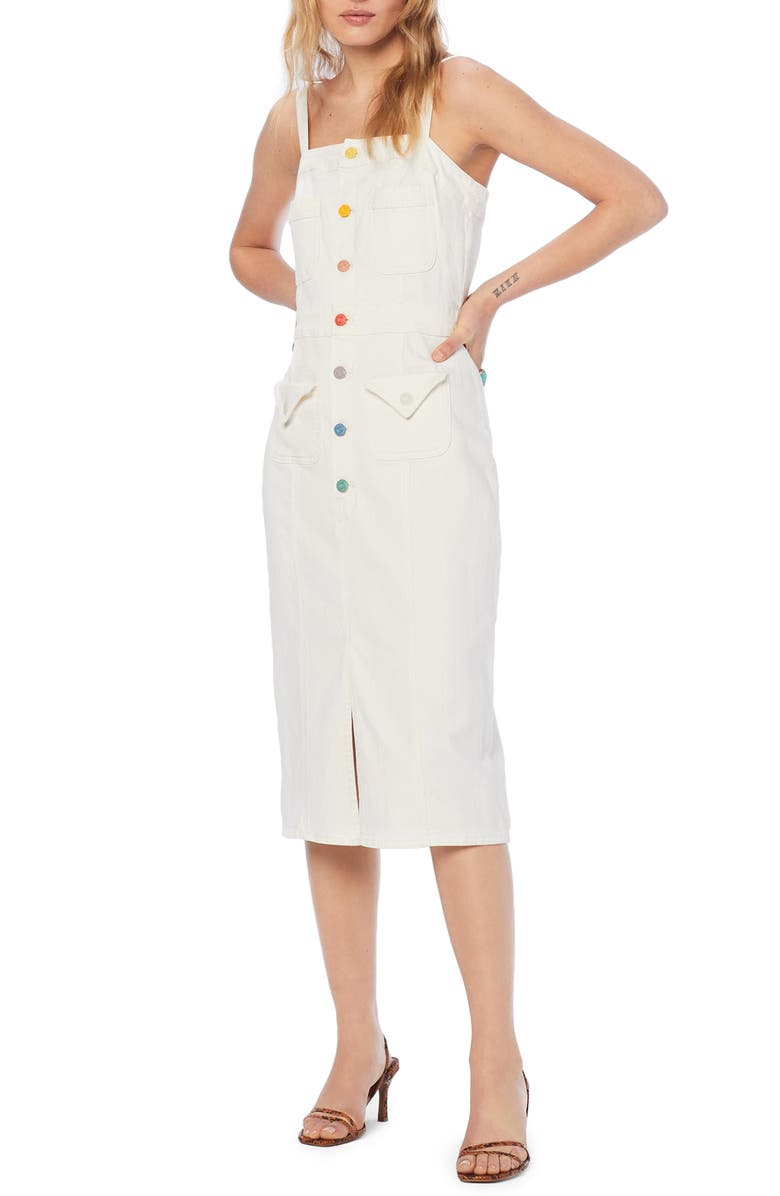 MOTHER To the Point Button Front Denim Dress, Main, color, TASTE THE RAINBOW