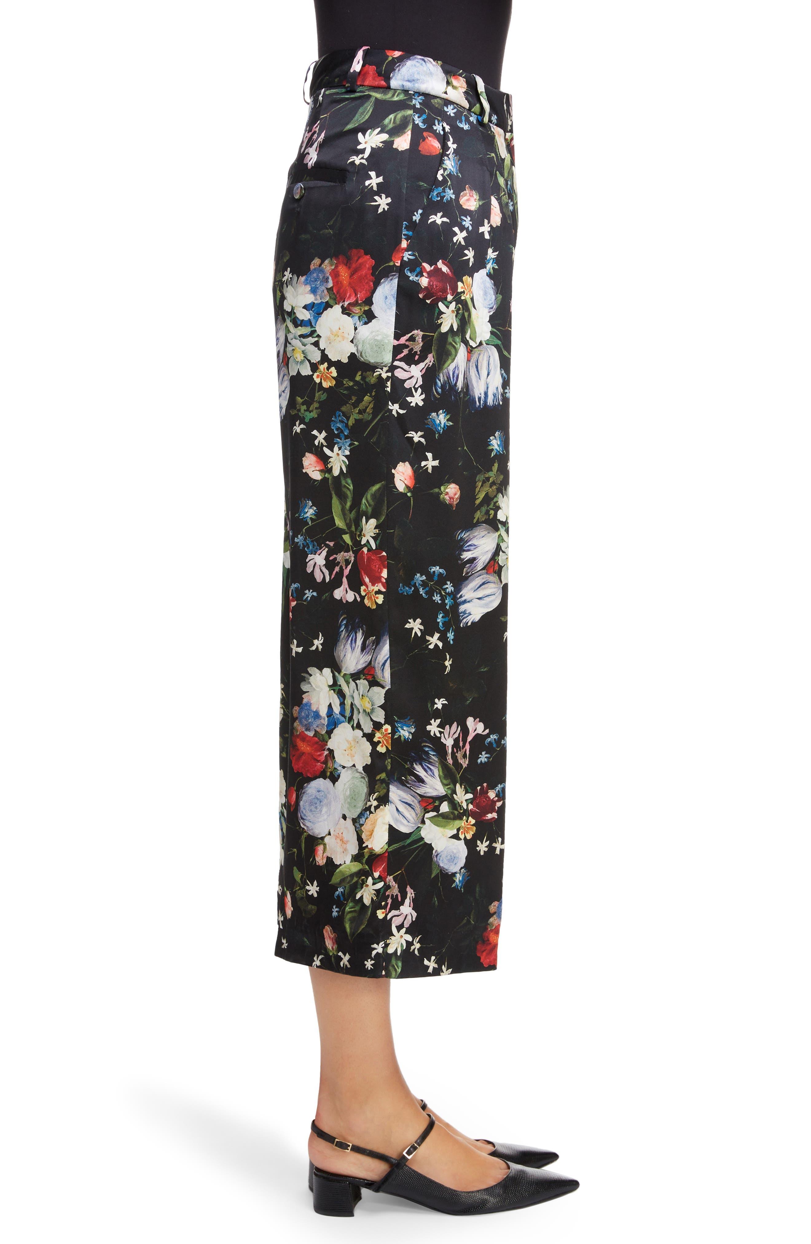 ,                             Floral Silk Satin Pleated Pants,                             Alternate thumbnail 3, color,                             BLACK/ MULTI