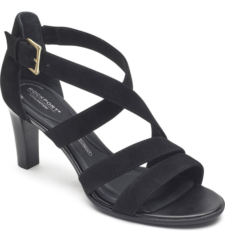 ROCKPORT Total Motion Edith Strappy Sandal, Main, color, BLACK SUEDE