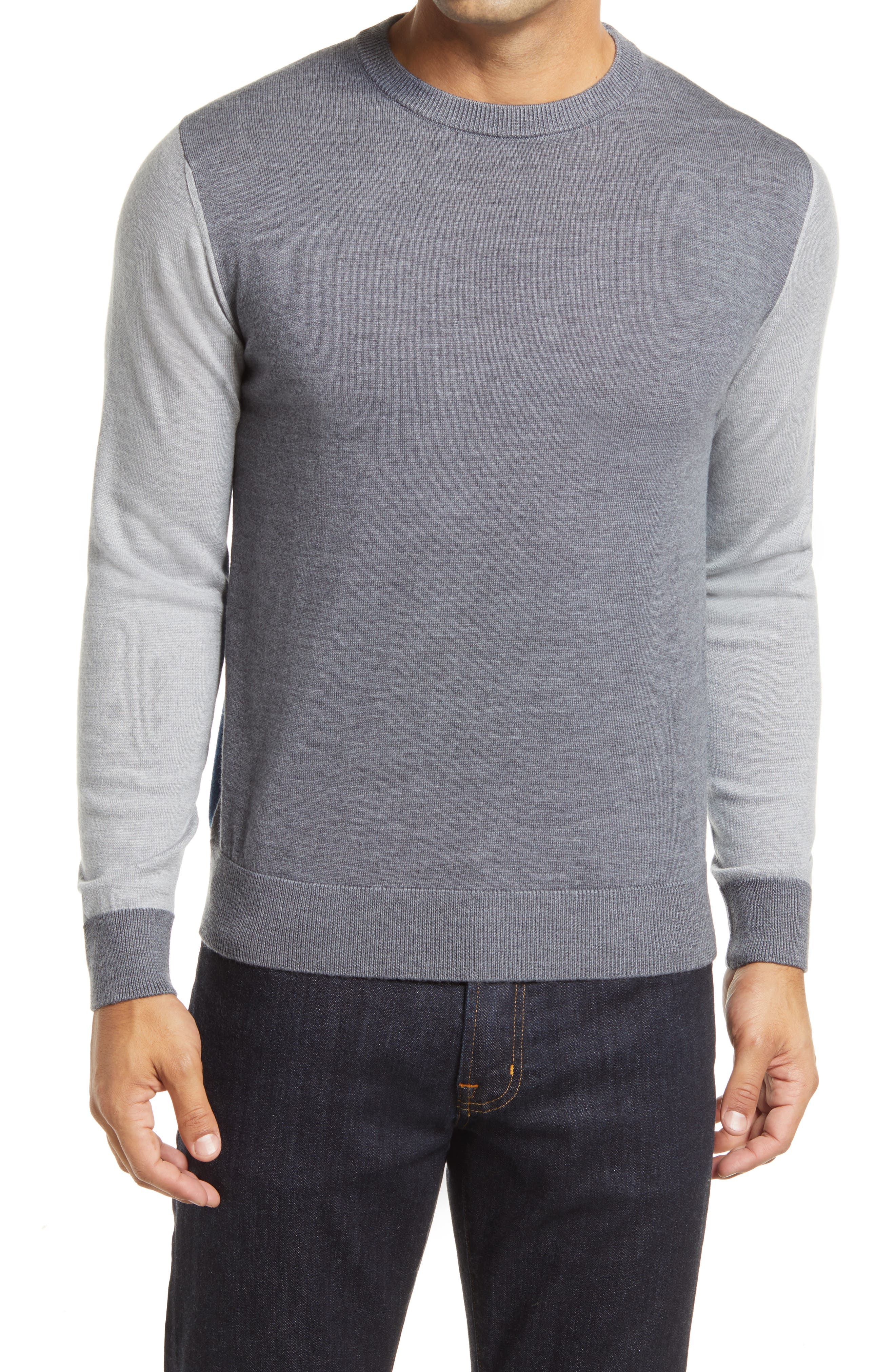 Contrast sleeves add a bit of punch to an Italian-crafted sweater knit from a soft merino wool blend. Style Name: Bugatchi Merino Wool Blend Crewneck Sweater. Style Number: 6103964. Available in stores.