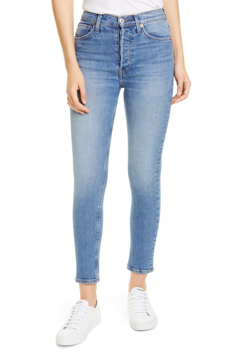 RE/DONE Originals High Waist Ankle Jeans, Main, color, WORN INDIGO