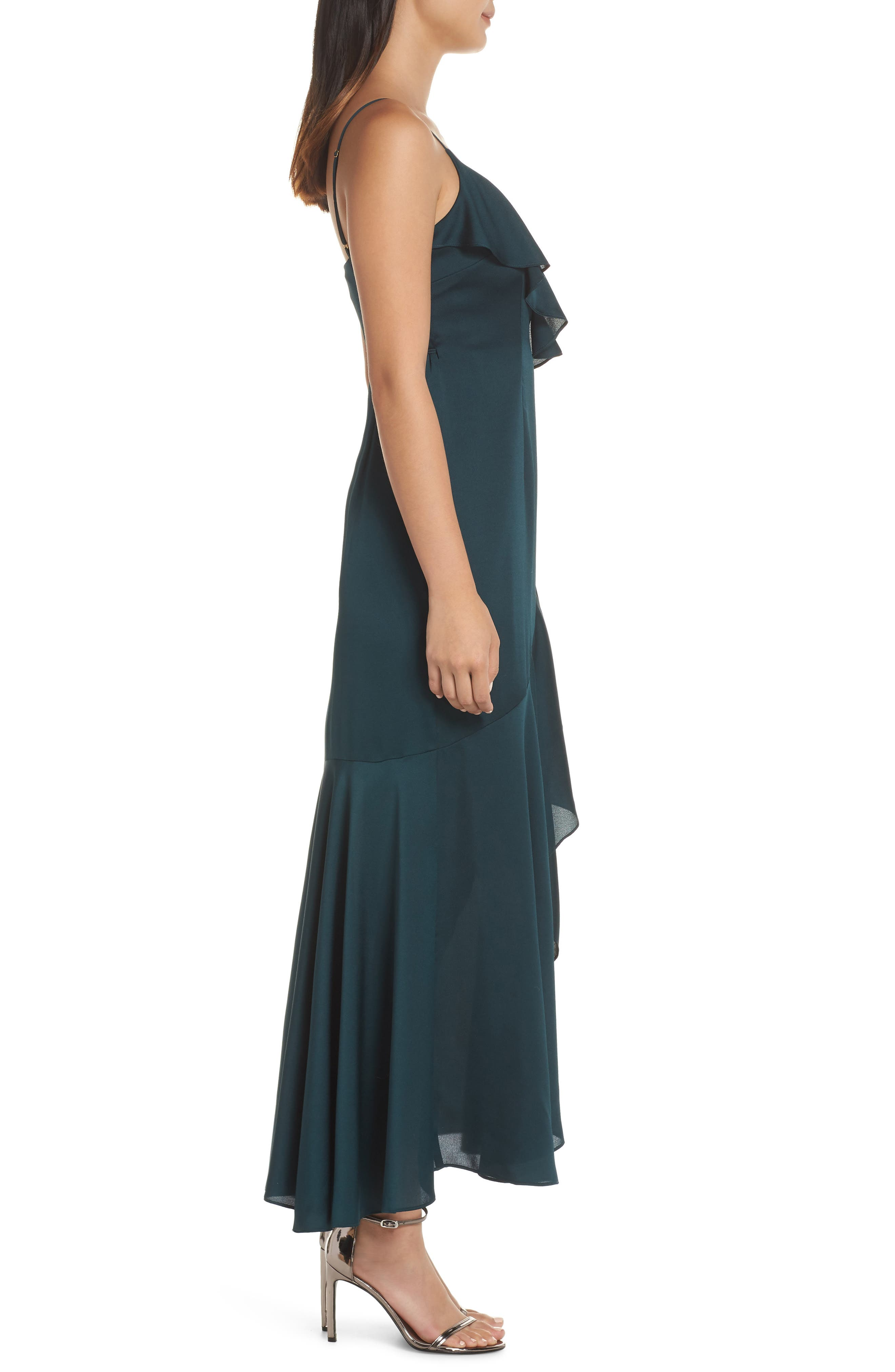 ,                             Luxe Ruffle Trim Wrap Gown,                             Alternate thumbnail 4, color,                             EMERALD
