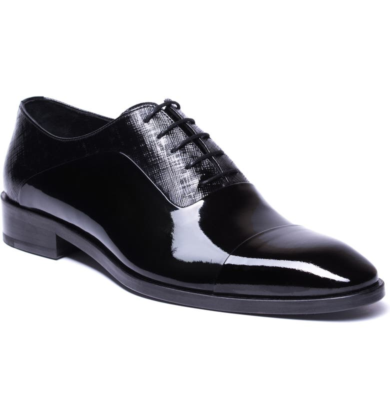 JARED LANG Jimmy Cap Toe Oxford, Main, color, BLACK LEATHER