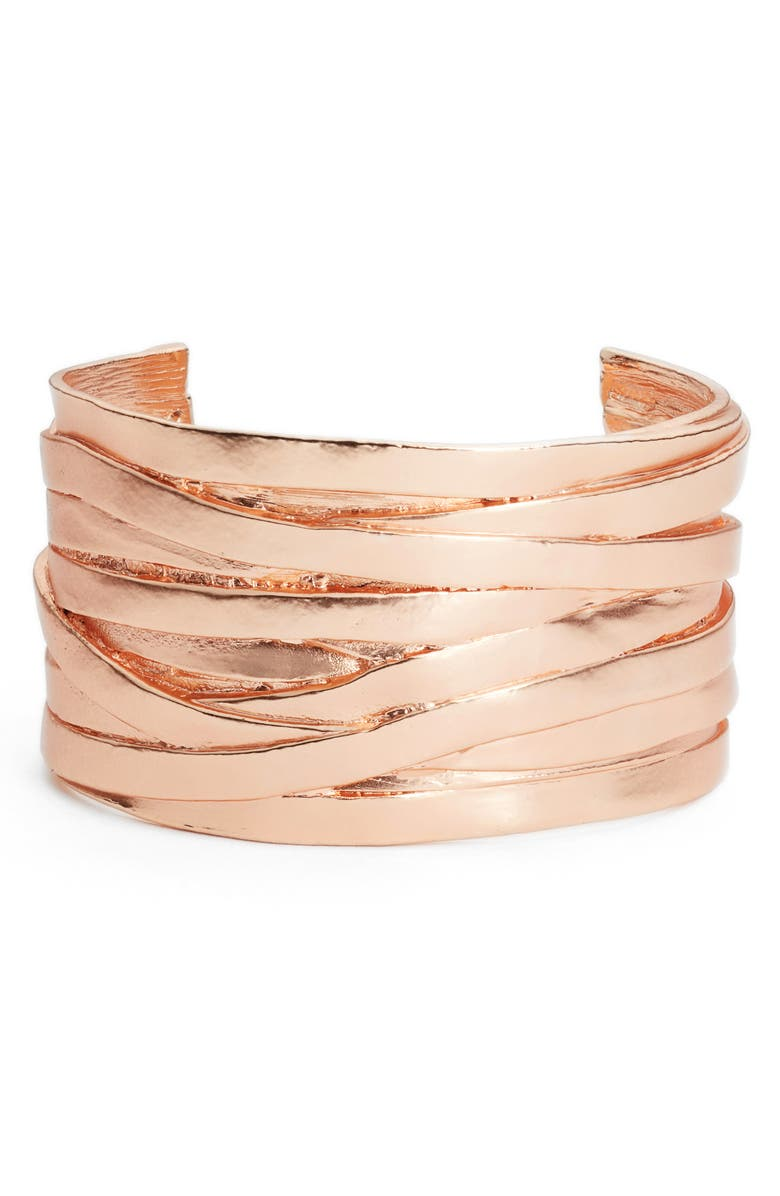 KARINE SULTAN Angelique Wrist Cuff, Main, color, ROSE GOLD