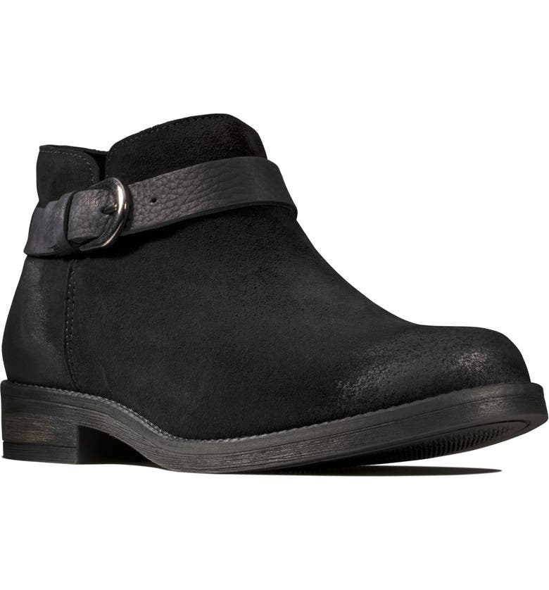 CLARKS<SUP>®</SUP> Demi Tone Bootie, Main, color, BLACK SUEDE