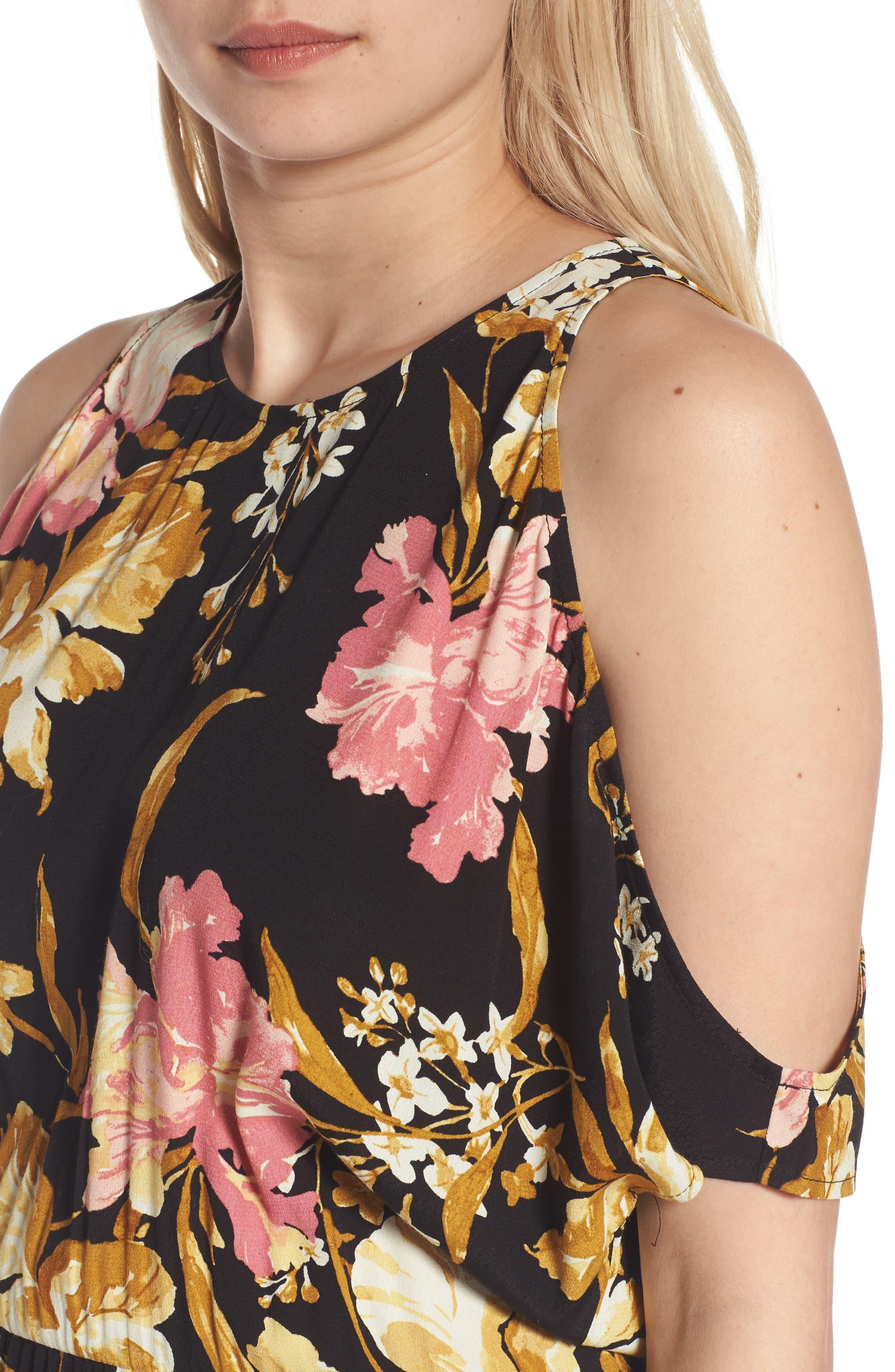 ,                             Cold Shoulder Midi Dress,                             Alternate thumbnail 4, color,                             001