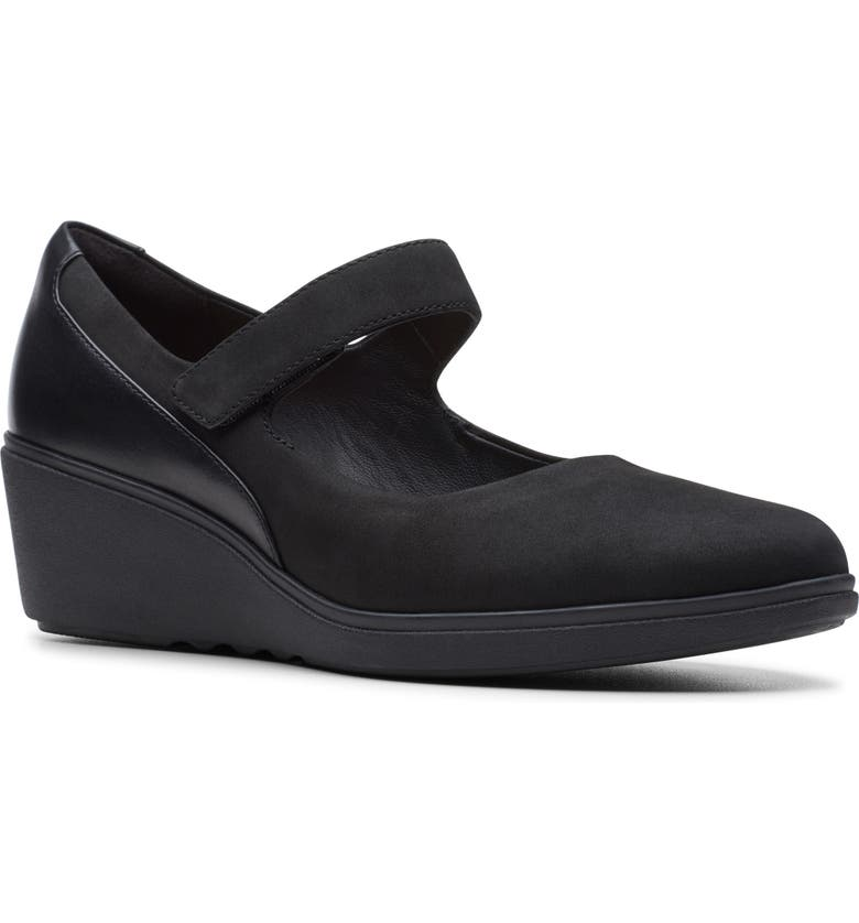 CLARKS<SUP>®</SUP> Unstructured Tallara Ivy Wedge Mary Jane, Main, color, BLACK NUBUCK LEATHER