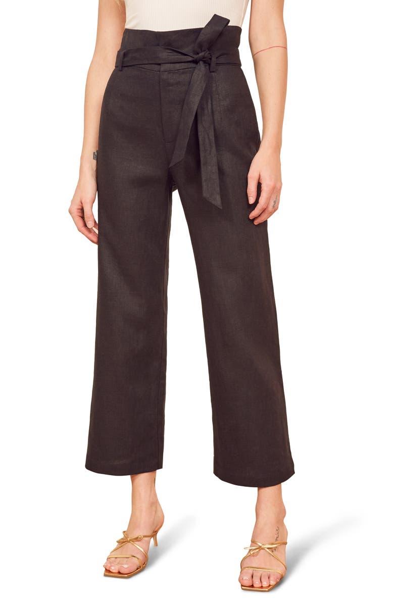 REFORMATION Jackie Belted High Waist Crop Linen Pants, Main, color, BLACK