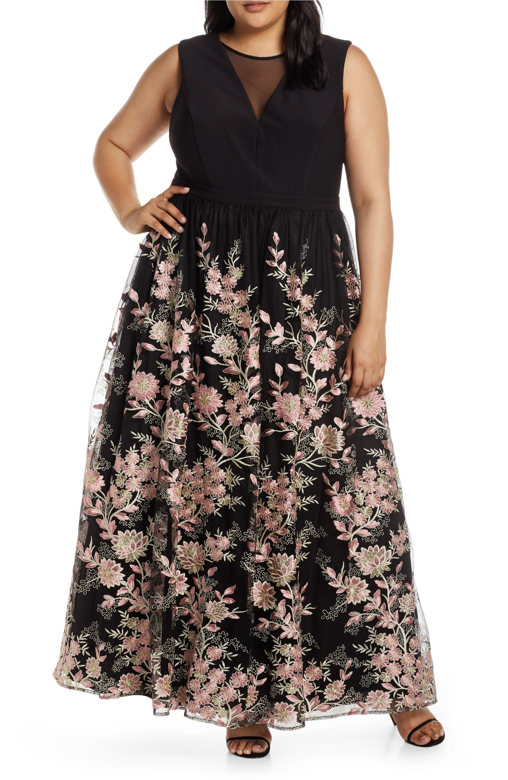 Embroidered Mesh Evening Gown