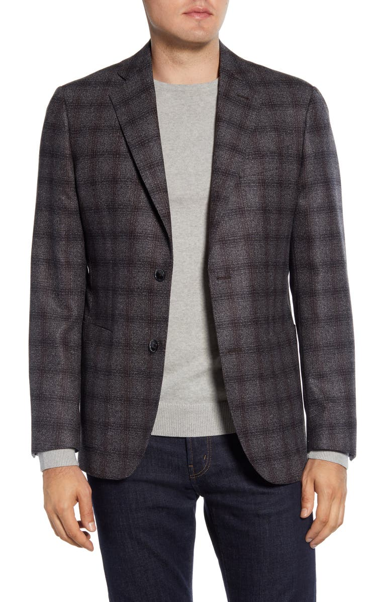 NORDSTROM SIGNATURE Trim Fit Plaid Wool Sport Coat, Main, color, BROWN MAJOR BLACK NEP
