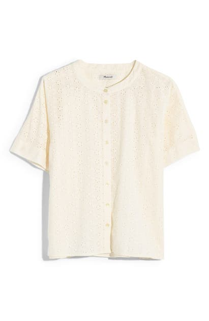 a060d949 Madewell Eyelet Boxy Button-Down Shirt In Lighthouse | ModeSens
