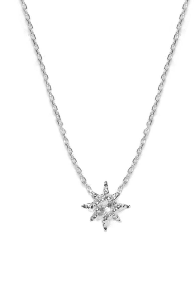ANZIE Starburst Pendant Necklace, Main, color, SILVER