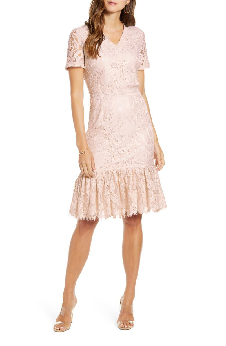 RACHEL PARCELL Lace Ruffle Hem Dress, Main, color, PINK PARCHMENT