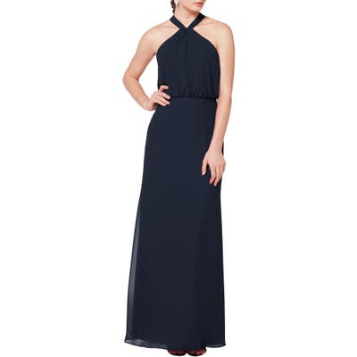 #levkoff Halter Neck Blouson Bodice Evening Dress, Blue