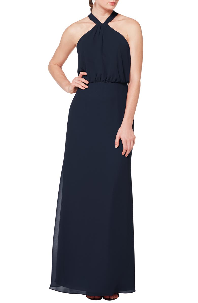 #LEVKOFF Halter Neck Blouson Bodice Evening Dress, Main, color, NAVY