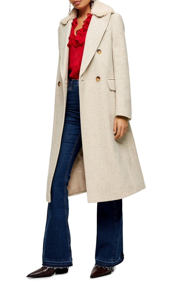 TOPSHOP Freddie Herringbone Coat, Main, color, OATMEAL