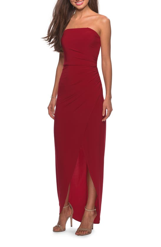 La Femme STRAPLESS RUCHED SOFT JERSEY GOWN