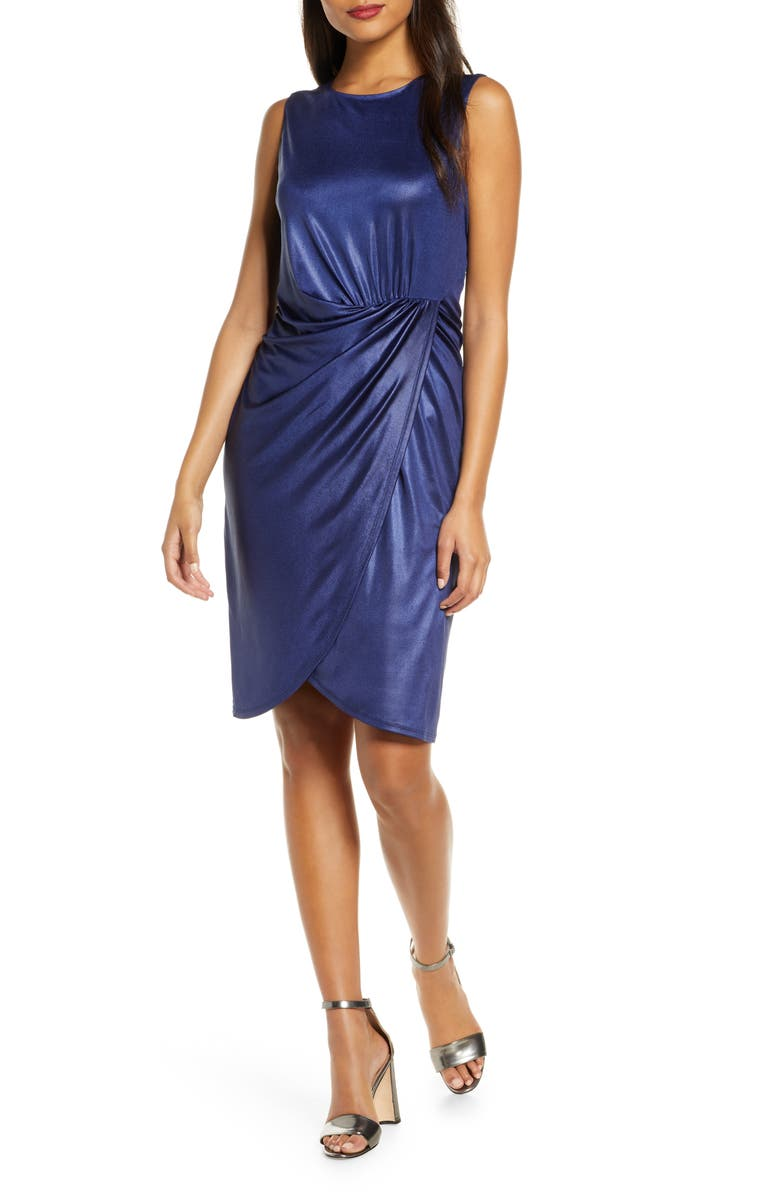 DONNA RICCO Ruched Sleeveless Metallic Knit Faux Wrap Dress, Main, color, 400