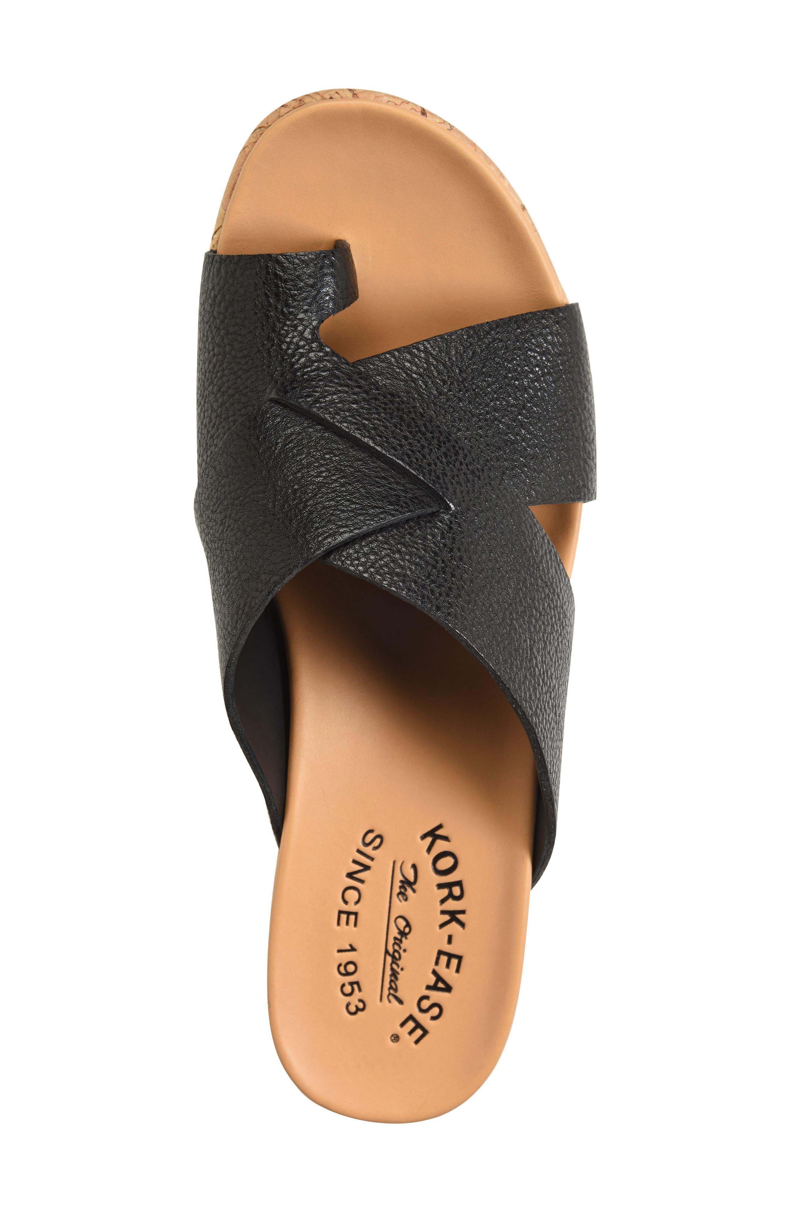 ,                             Baja Wedge Slide Sandal,                             Alternate thumbnail 5, color,                             BLACK LEATHER