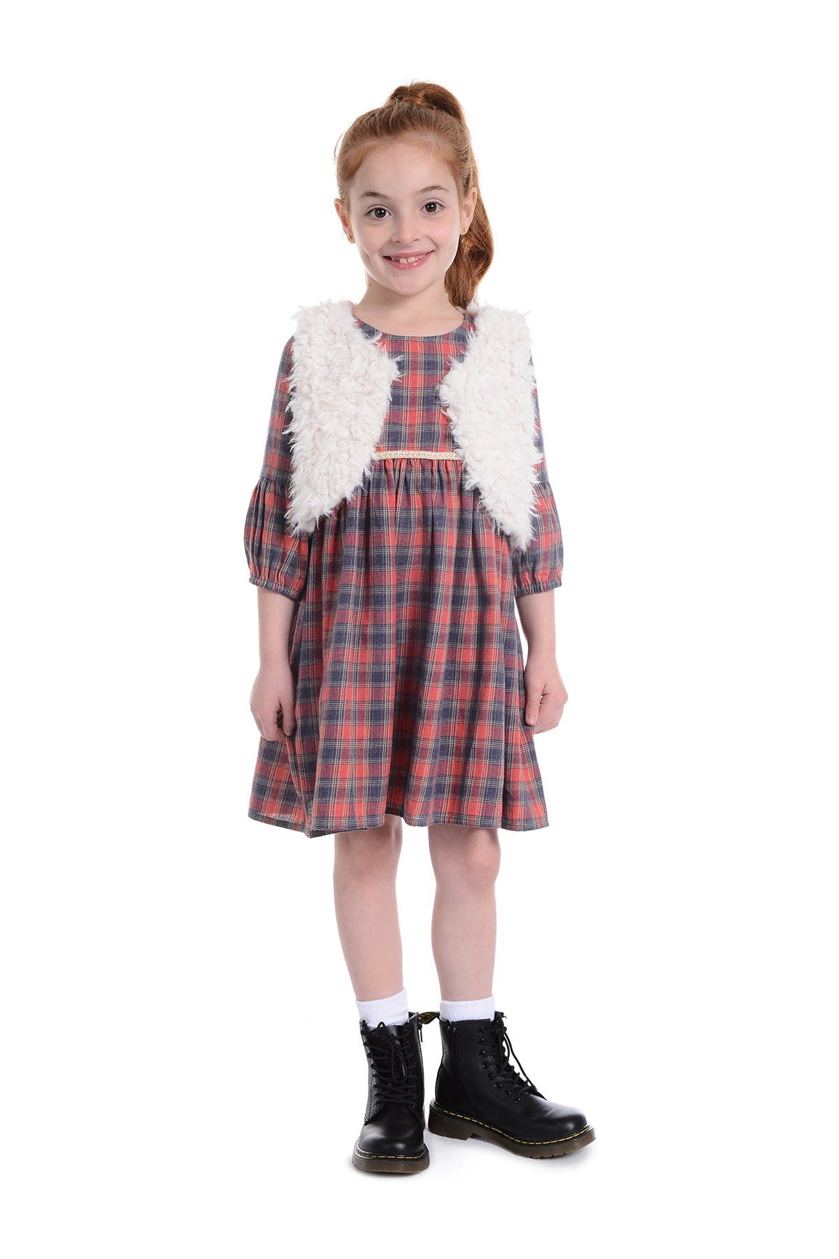 Image of Pippa & Julie Plaid Dress & Faux Fur Vest 2-Piece Set