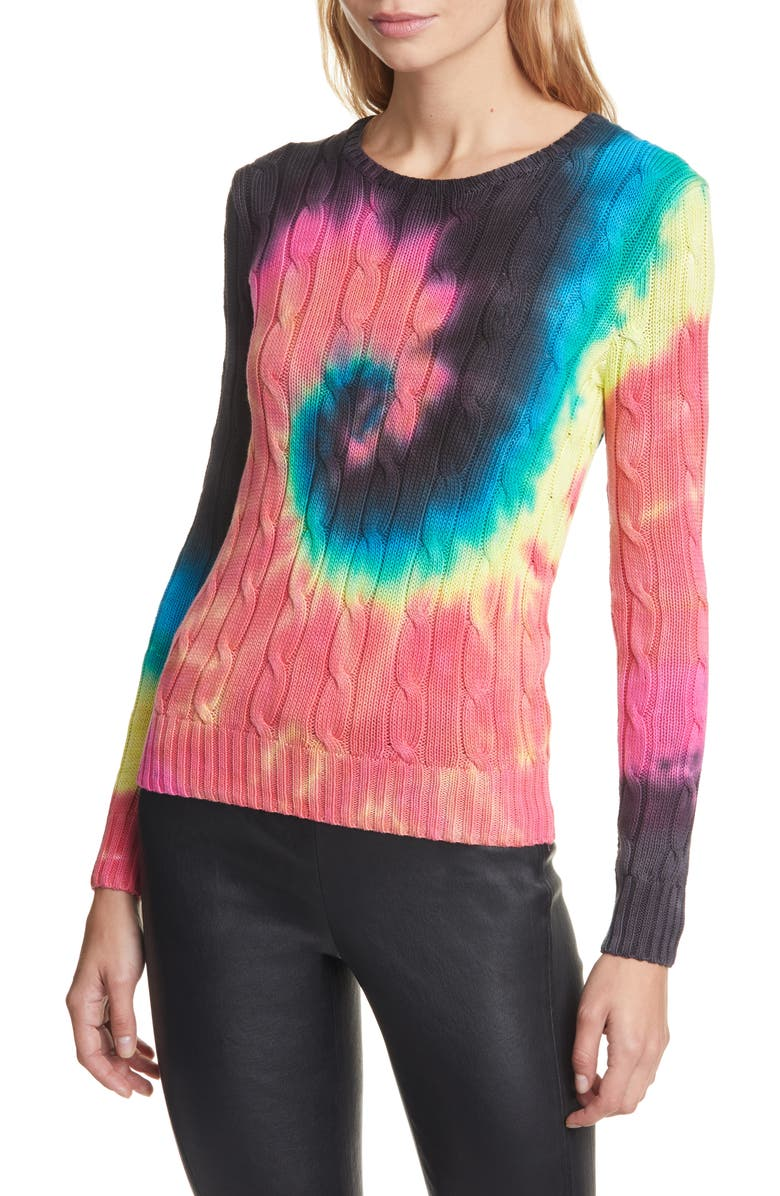 POLO RALPH LAUREN Eclipse Cable Knit Cotton Sweater, Main, color, MULTI
