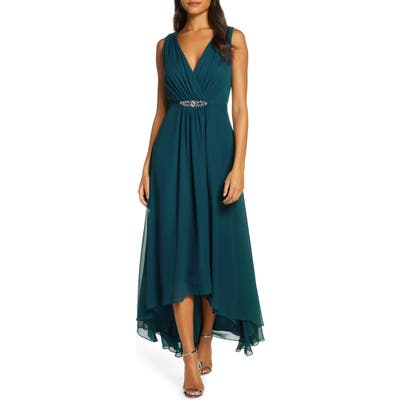 Eliza J Wrap Look High/low Chiffon Dress, Blue/green