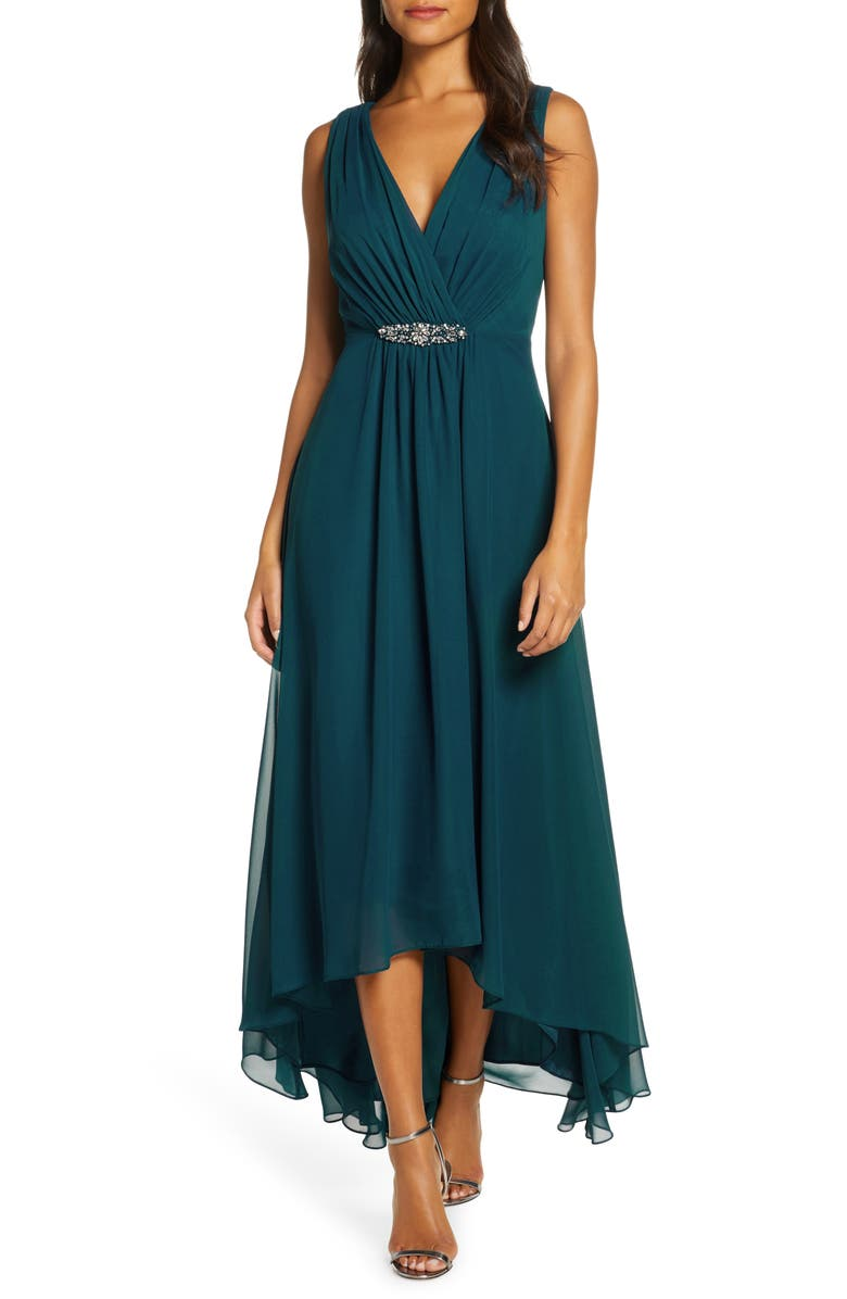 ELIZA J Embellished High/Low Chiffon Dress, Main, color, PEACOCK