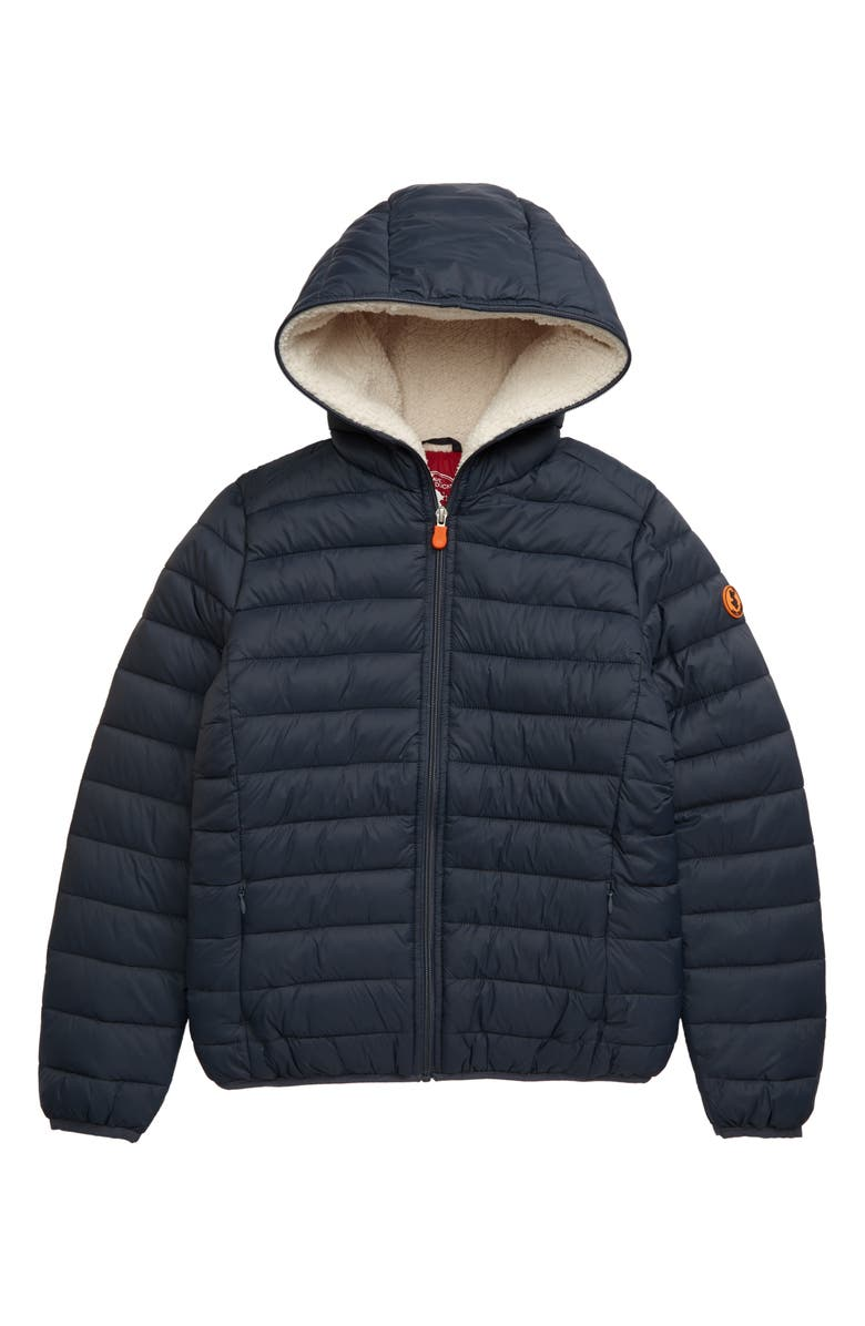 SAVE THE DUCK Water Resistant Hooded Jacket, Main, color, EBONY GREY