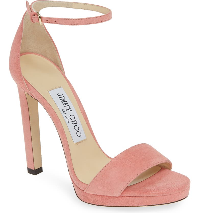JIMMY CHOO Misty Platform Sandal, Main, color, CANDY FLOSS SUEDE