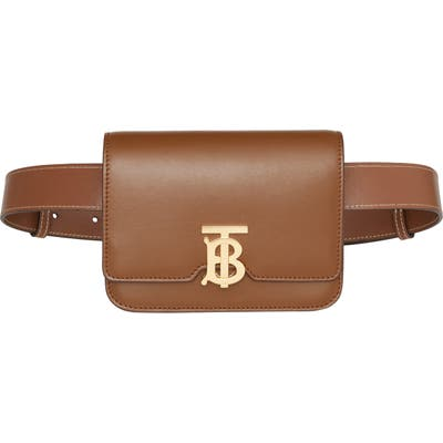 Burberry Tb Leather Belt Bag - Brown
