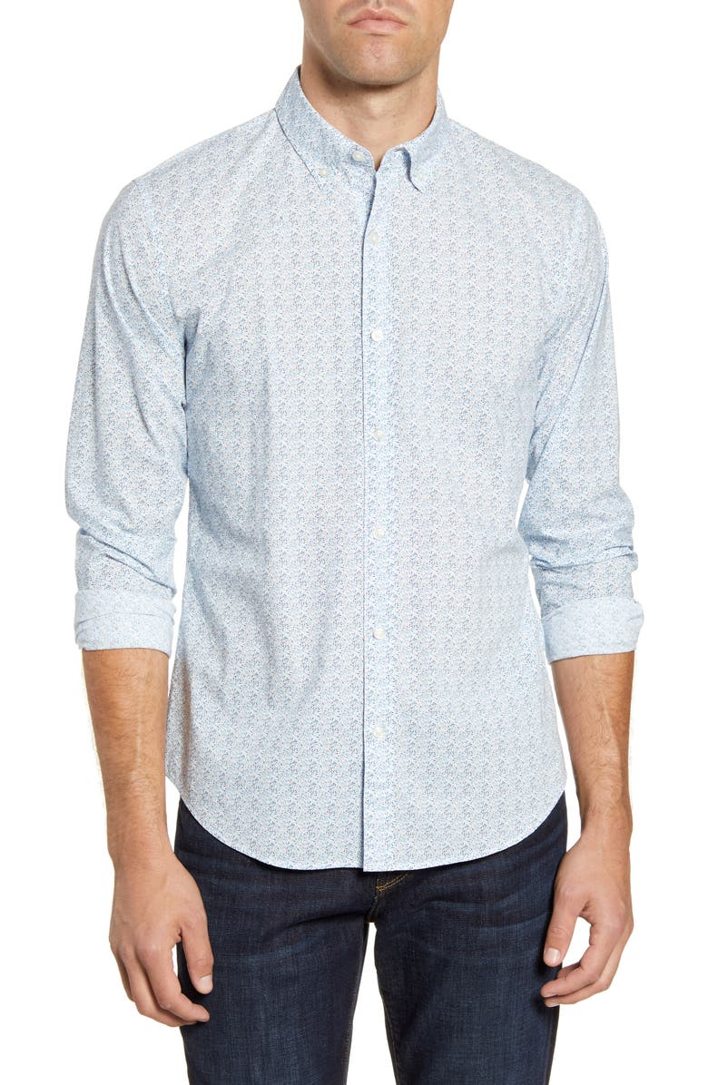 BONOBOS Summerweight Slim Fit Floral Button-Down Shirt, Main, color, BRIDGEWATER FLORAL TAHOE BLUE