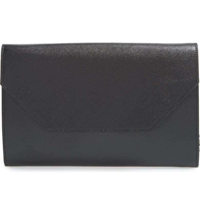 HALOGEN<SUP>®</SUP> Angled Leather Day Clutch, Main, color, 001