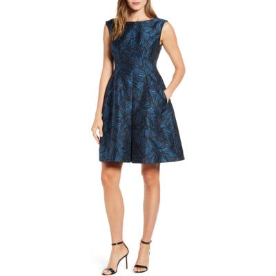 Anne Klein Sleeveless Jacquard Fit & Flare Dress, Blue/green