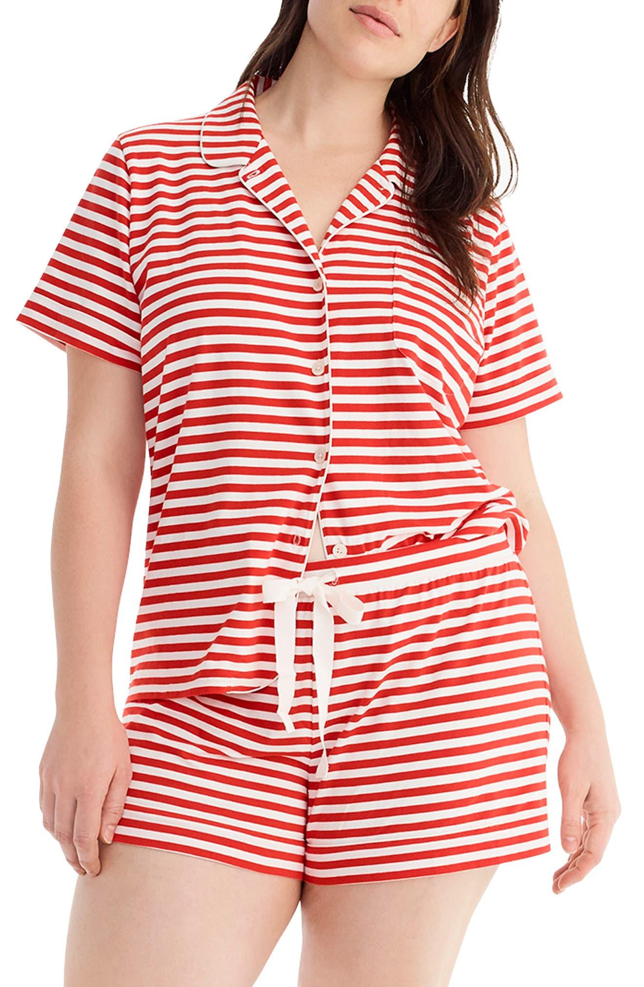 Plus Size J.crew Dreamy Stripe Knit Pajamas, Red
